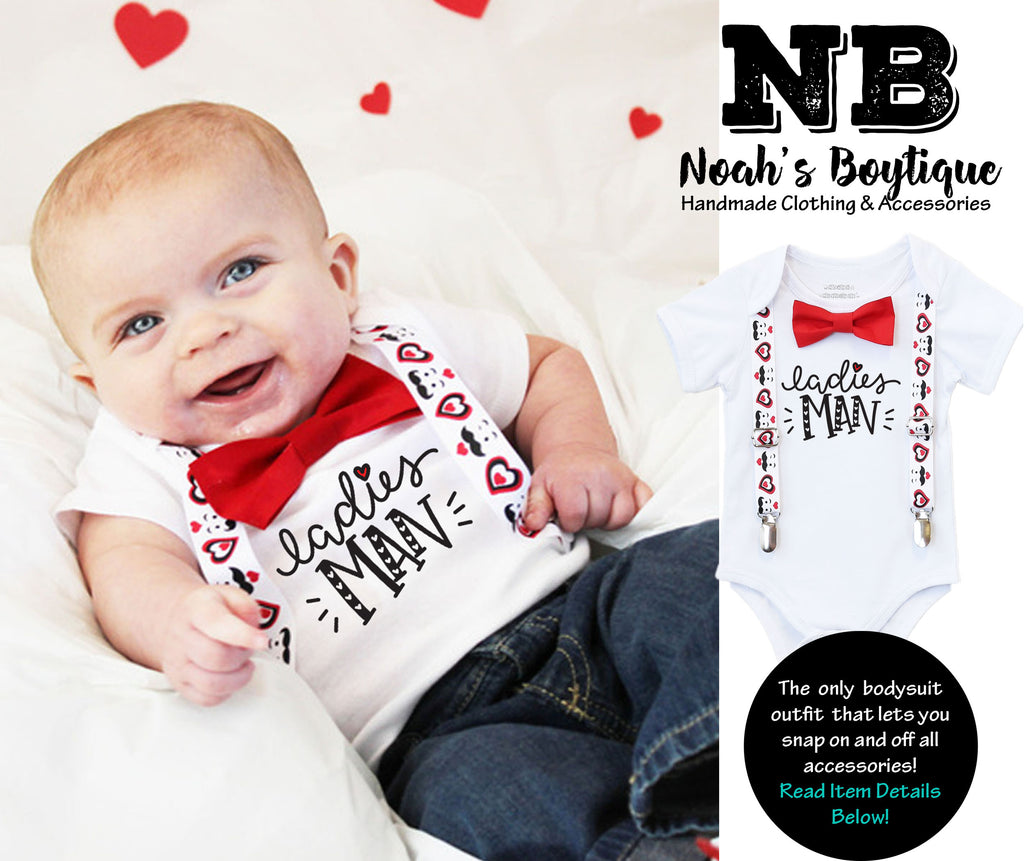 ce555675f5b3e Cute Baby Boy Valentines Day Outfit with Mustache Heart Suspenders – Noah's  Boytique