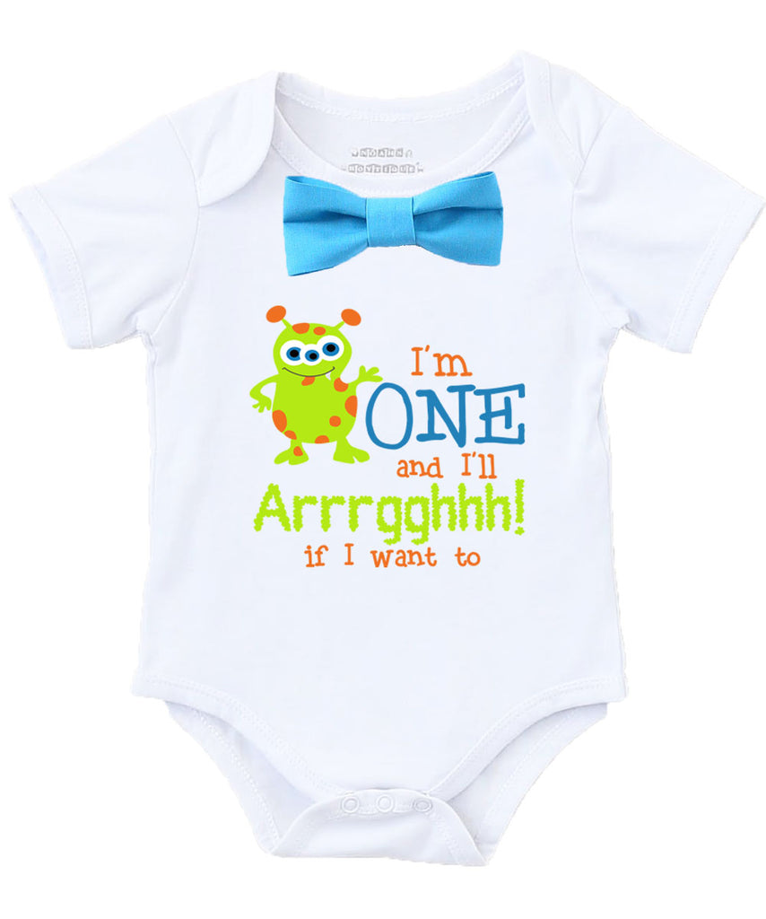 Little Monster First Birthday Shirt Outfit Onesie 1st Boy Party Theme Cake Smash Photo