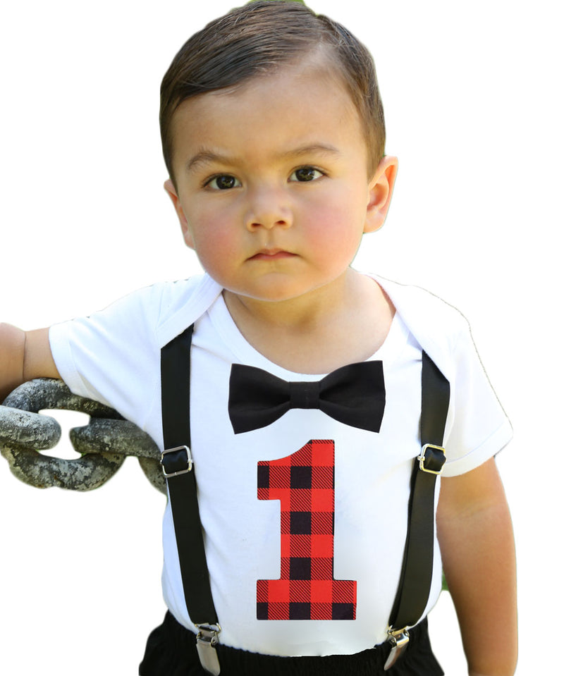 Lumberjack First Birthday Party Outfit - Red and Black Buffalo Plaid - Lumberjack Theme - Camping Theme - Photo Props - Cake Smash - Rustic Lumberjack Onesie