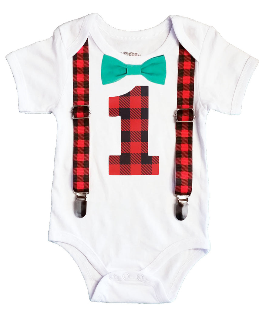 Lumberjack First Birthday Party Outfit Buffalo Plaid Suspenders