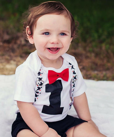 First Birthday Blue and Red Outfit Boy - Baby Boy - Polka Dots - Suspenders Bow - Number One - Birthday Theme - Outfit Ideas - 1st Birthday