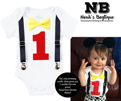 5d79beb9d Mickey Mouse First Birthday Outfits for Boys Black Red and Yellow – Noah's  Boytique