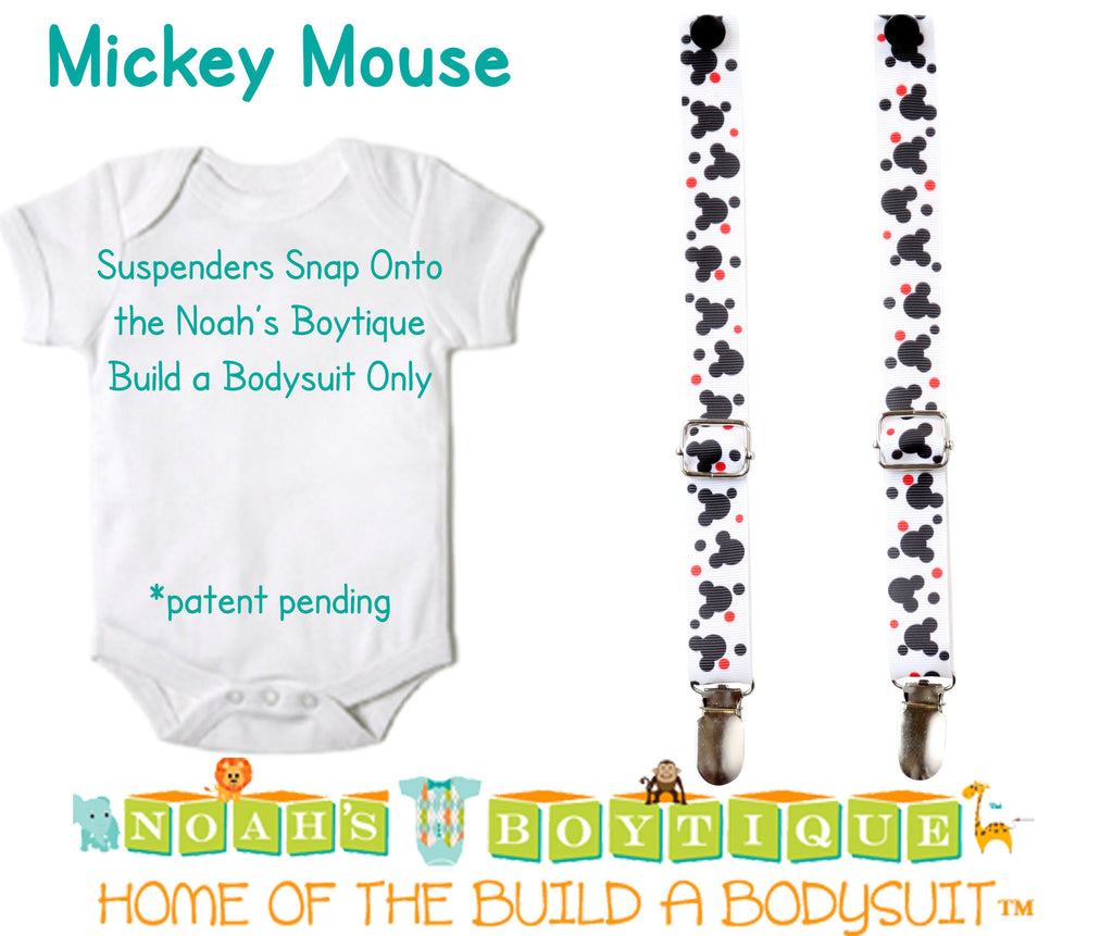 Mickey Mouse Noah's Boytique Bodysuit Suspenders - Snap on Suspenders - Suspender Outfit - Baby Suspenders - Newborn Suspender - Mickey Theme Party