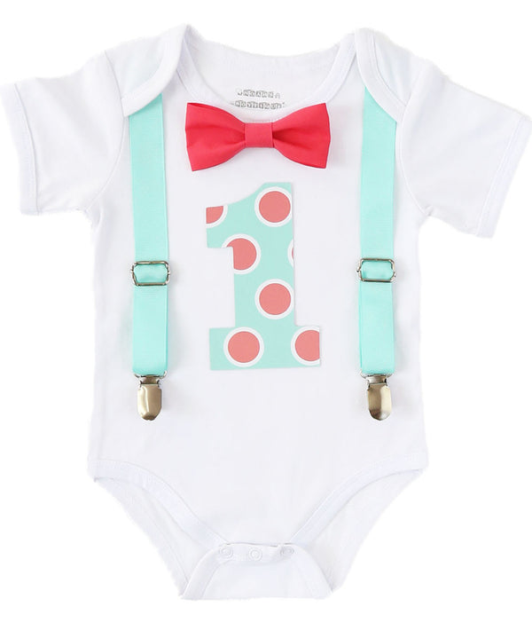 Boys First Birthday Outfit Mint and Coral - Polka Dot Number One - Spring Birthday - 1st Birthday Outfit - Boys Birthday Clothes - Colorful