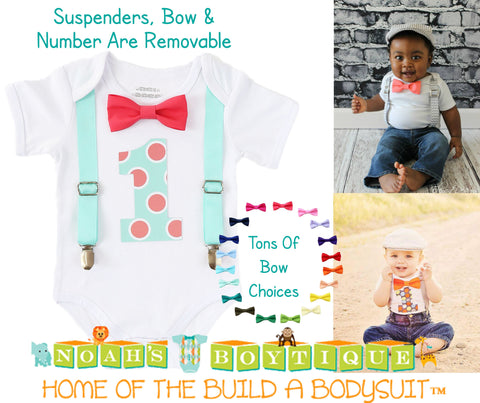 Paw Patrol First Birthday Outfit Baby Boy with Bow Tie and Suspenders