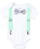First Birthday Boy Mint and Grey - Mint Suspenders - Number One - Boys First Birthaday Clothes - Cute First Birthday - 1st - Grey Bow Tie