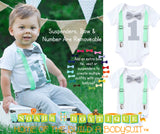 First Birthday Boy Mint and Grey - Mint Suspenders - Number One - Boys First Birthaday Clothes - Cute First Birthday - 1st - Grey Bow Tie - Noah's Boytique Bodysuit - Baby Boy First Birthday Outfit