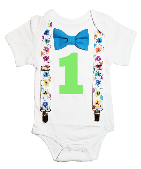 monster first birthday outfit bow tie suspenders cake smash