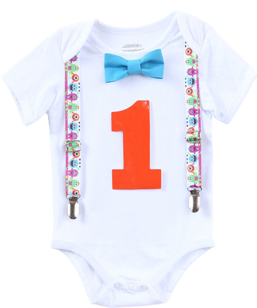 Monster Birthday Shirt Baby Boy - Monster Birthday Outfit - Monster Theme Party - First Birthday - 1st Birthday - Suspenders Bow Tie - One