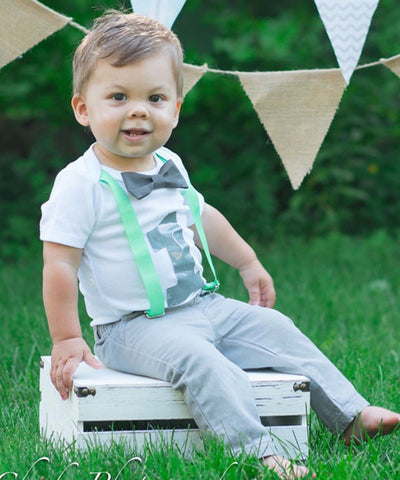 Cake Smash Outfit Boy Grey Chevron Aqua and Navy Blue