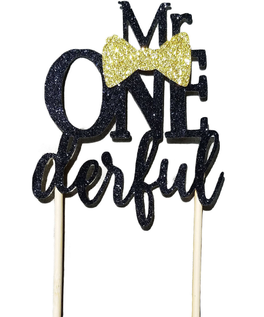 Mr Onederful Cake Topper Black and Gold Baby Boy
