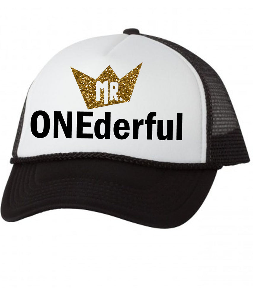 mr onederful baby trucker hat mesh first birthday boy hipster punk skater trendy cute 1st birthday i'm one black and gold