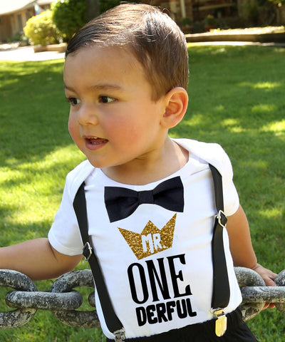 mr onederful first birthday shirt baby boy gold crown black bow tie suspenders onesie 1st birthday cake smash