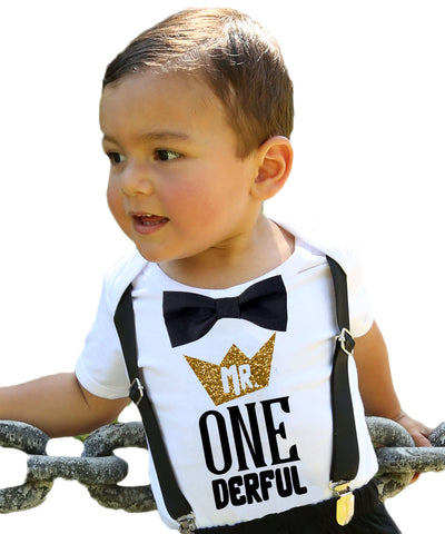 Mr Onederful First Birthday Outfit Black And Gold With Suspenders Noahs Boytique