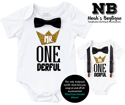 mr onderful first brithday shirt outfit black and gold bow tie suspenders crown cake smash 1st birthday onesie