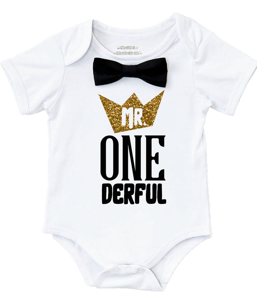 Mr Onderful First Brithday Shirt Outfit Black And Gold Bow Tie Suspenders Crown Cake Smash 1st