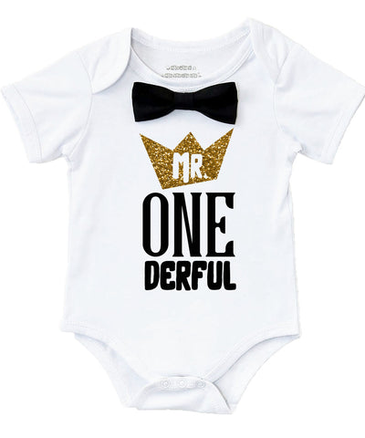 9022bb3fd Mr Onederful First Birthday Outfit Black and Gold with Bow Tie – Noah's  Boytique