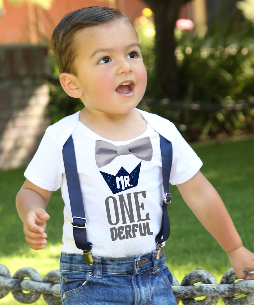 mr onederful crown first birthday shirt onesie outfit suspenders bow tie glitter wild one 1st birthday cake smash