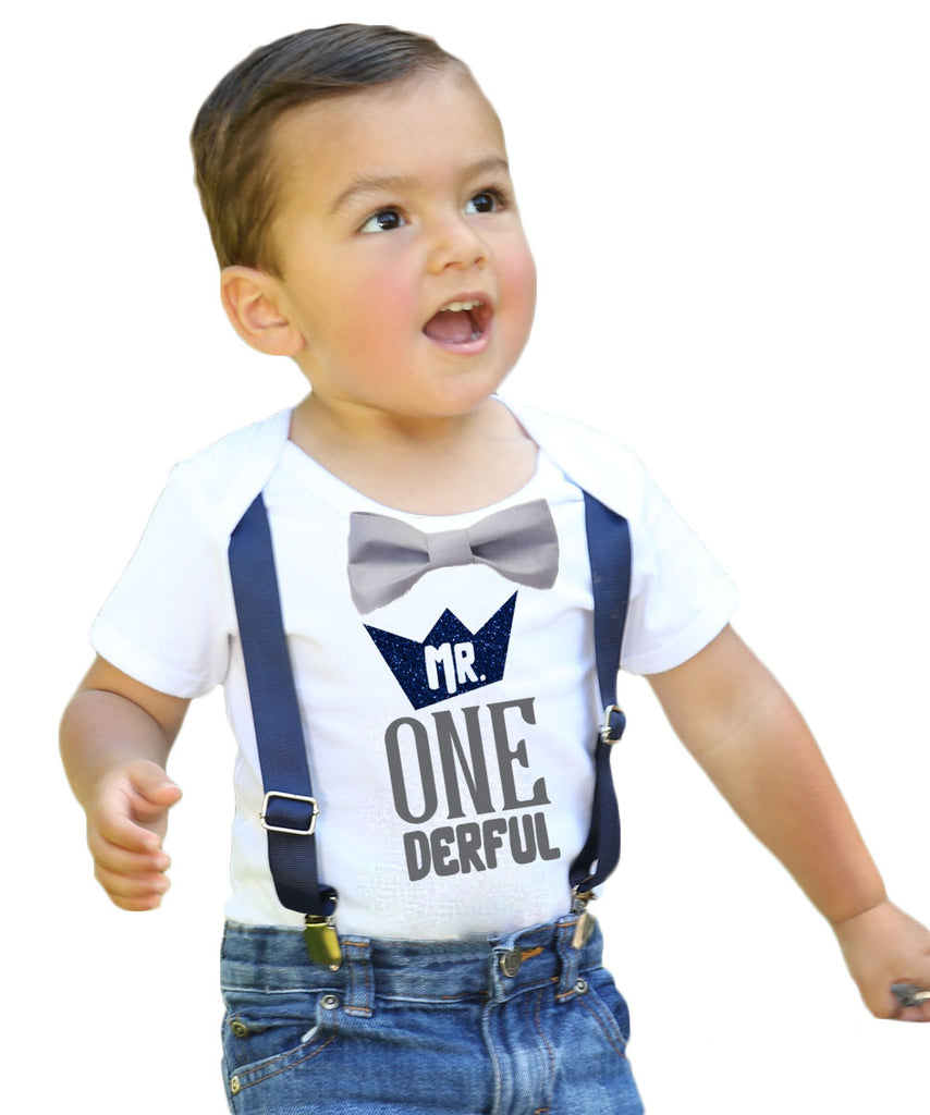 Mr Onederful Crown First Birthday Shirt Onesie Outfit Suspenders Bow Tie Glitter Wild One 1st