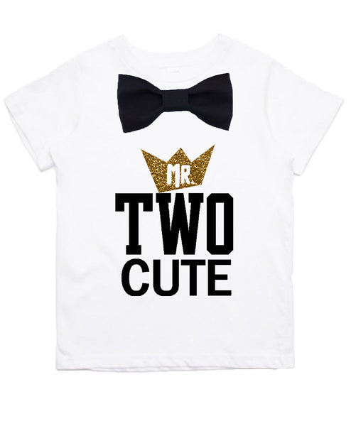 Boys 2nd Birthday Shirt Mr Two Cool Black And Gold With Bow Tie Noahs Boytique