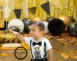 mr onederful first birthday outfit onesie bow tie suspenders black and gold one-derful shirt