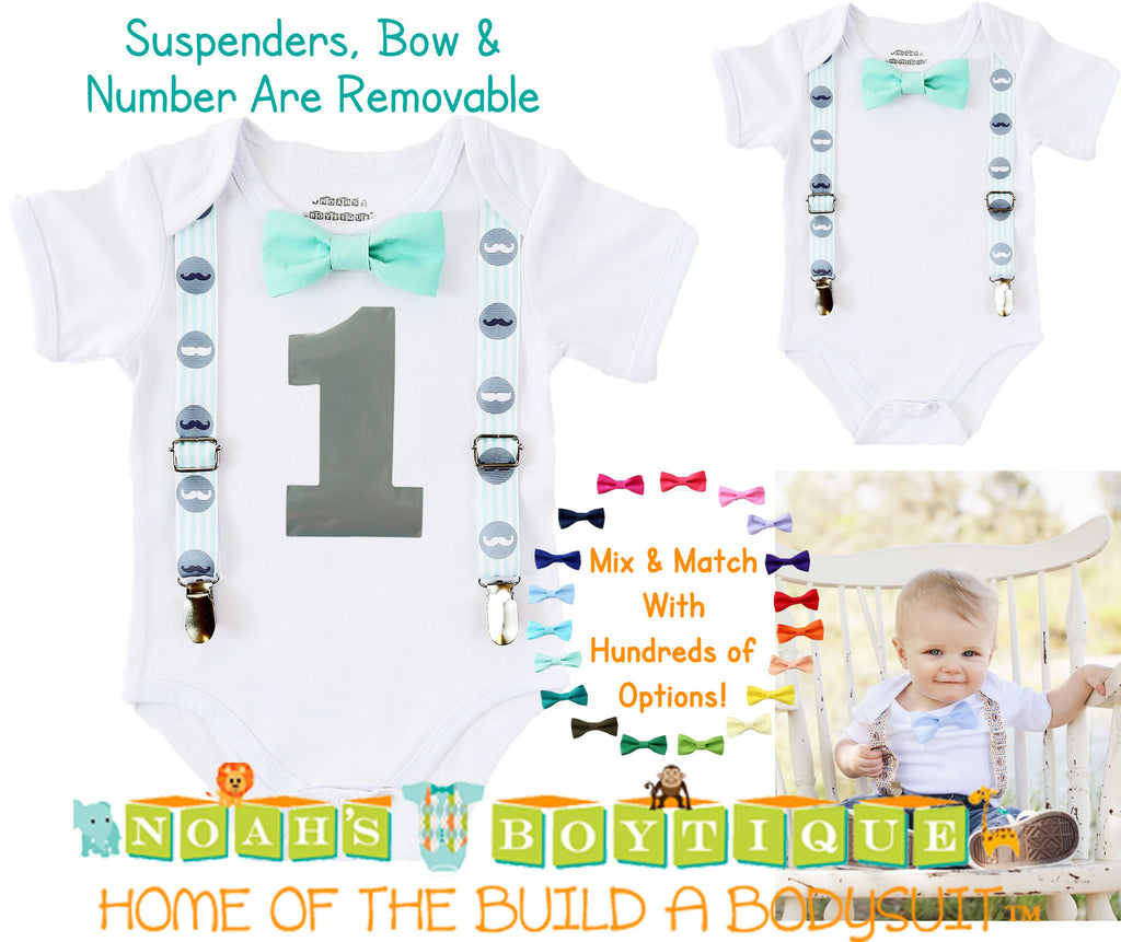 Baby Boy Mustache Birthday Outfit - Little Man Outfit - First Birthday - Mint - Grey Gray - Bow Tie Party - Baby Boy Clothes - 1st Birthday - Noah's Boytique  - Baby Boy First Birthday Outfit