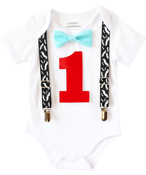 First Birthday Mustache Bash Outfit - Mustache Birthday Outfit Baby - Baby Boy - Mustache 1st - Mustache Baby Suspenders - Bow Tie Outfit - Noah's Boytique Bodysuit - Baby Boy First Birthday Outfit