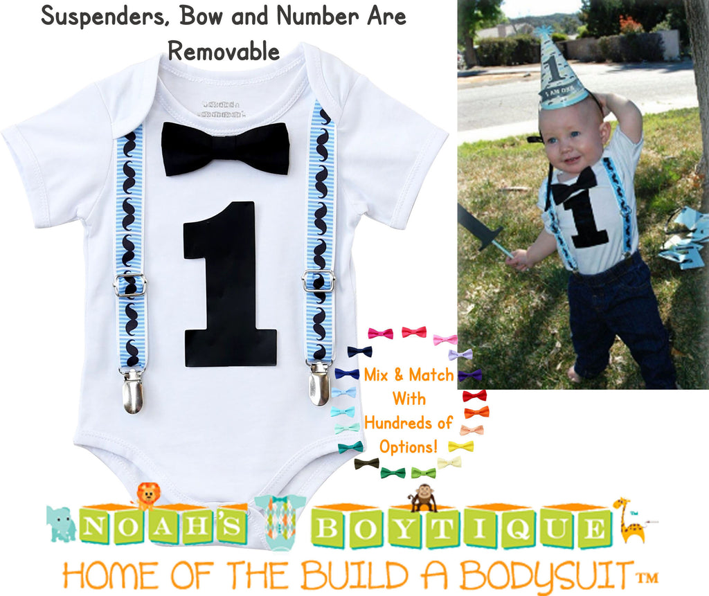 Mustache First Birthday Outfit Blue and Black Suspenders and Bow Tie