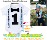 Mustache Birthday Party Outfit - Boys First Birthday Mustache Shirt - Mustache Bash - Baby Boy - Mustache Party - Blue - Black - Vintage - Noah's Boytique  - Baby Boy First Birthday Outfit