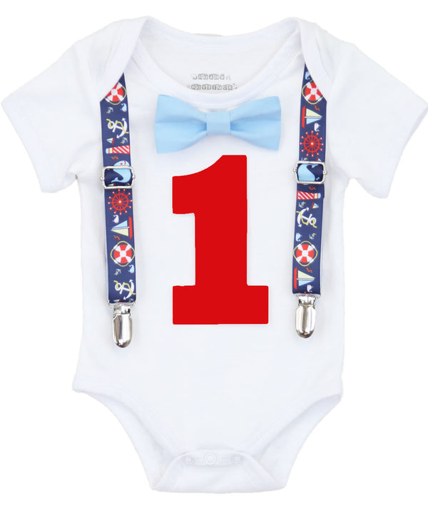 Boys First Birthday Outfit Nautical Theme - Sailboats - Whales - Life Ring - Ship Wheel - Nautical Party - Boat Party - 1st Birthday - Bow