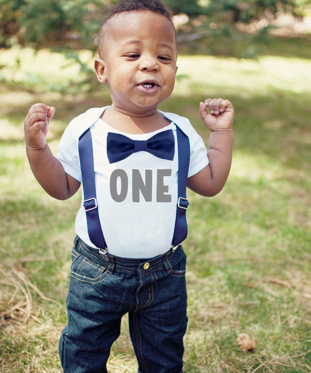 Navy and Gray First Birthday Outfit with Personalization Option