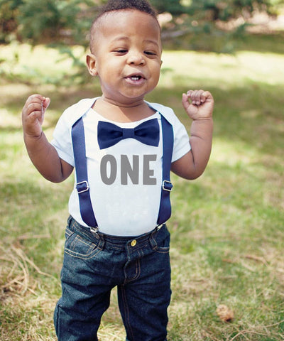 Baby Boy Outfits Navy Blue Vest Grey Suspenders Light Blue Bow Tie Set