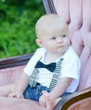 first birthday outfit baby boy navy blue chevron monochrome birthday onesie noah's boytique suspenders bow tie number one