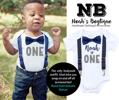 Navy and Gray First Birthday Outfit, I'm One Baby Boy Birthday Shirt, Bow Tie and Suspenders Cake Smash Set, Grey and Blue Theme Party Ideas, Personalized Shirt