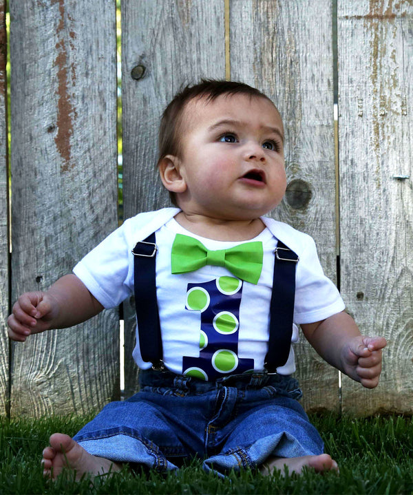 Baby Boy Blue and Grey First Birthday Outfit - Navy Blue - Polka Dots - Number One - First Birthday Clothes - 1st Birthday - Bow Tie - Theme