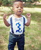 first birthday shirt boy navy blue and grey suspenders bow tie number one noah's boytique