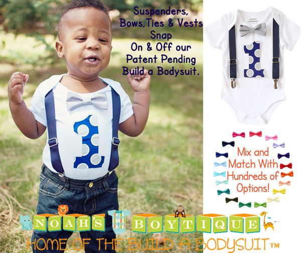 first birthday outfit boy navy blue and grey suspenders bow tie number one noah's boytique