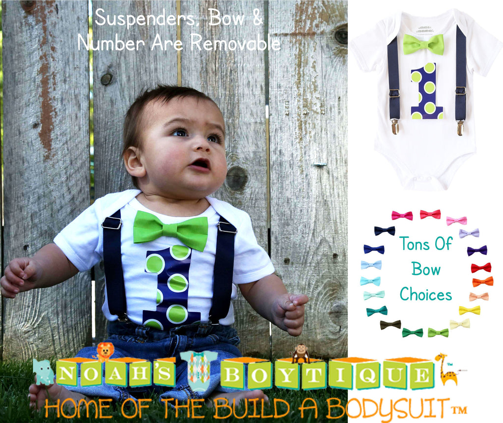 Baby Boy First Birthday Outfit - First Birthday Shirt - Lime and Navy Blue - Polka Dots - Cake Smash - Suspenders Bow Tie - Number One