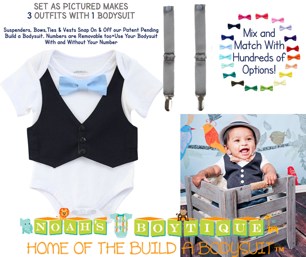 Baby Boy Outfits - Boys First Birthday Outfit - Baby Boy Suspender Outfit - Navy Blue Vest Light Blue Bow Tie Grey Suspenders - Bundle - Gift Set - Newborn Boy