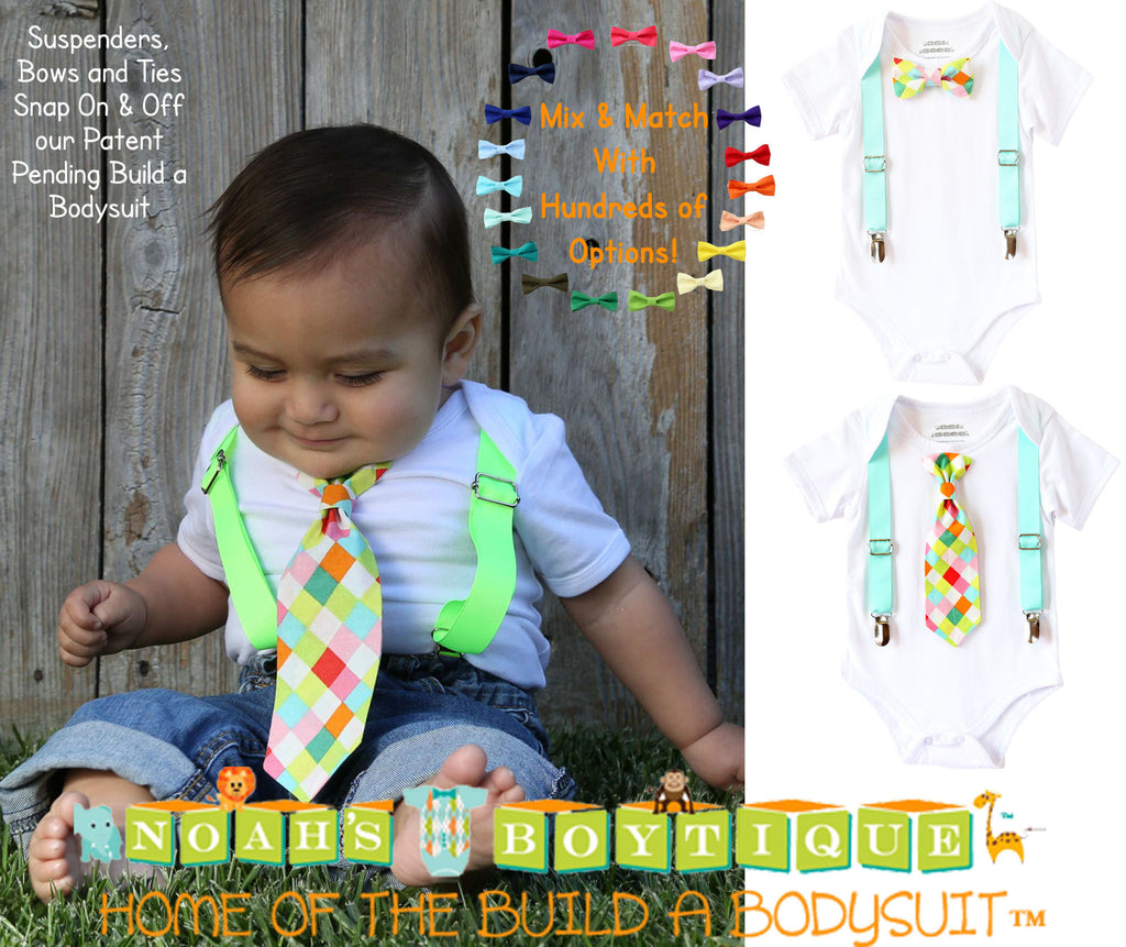 Noah's Boytique Baby Boy Outfit with Tie and Suspenders Neon Hipster