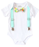 Noah's Boytique Baby Boy Shirts with Aqua Suspenders and Neon Bow Tie