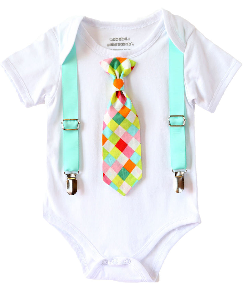 Baby Boy Clothes with Tie and Suspenders Aqua and Neon