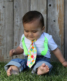 Noah's Boytique Baby Boy Clothes with Aqua Suspenders and Neon Bow Tie