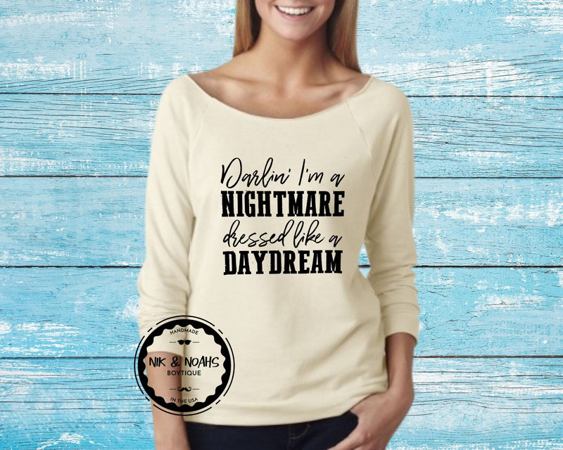 Darlin I'm a Nightmare Dressed Like a Daydream Womens Graphic Tee T-Shirt Funny Long Sleeve