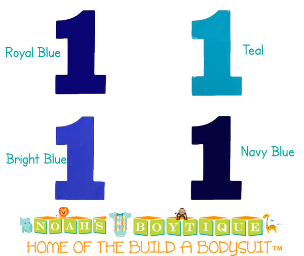 Bodysuit Sticker - Number One Sticker - Blue - Navy - Number 1 - Shirt Sticker - Solids - Teal - Royal Blue - Bright Blue - Noah's Boytique Number One Sticker - Baby Boy First Birthday Outfit