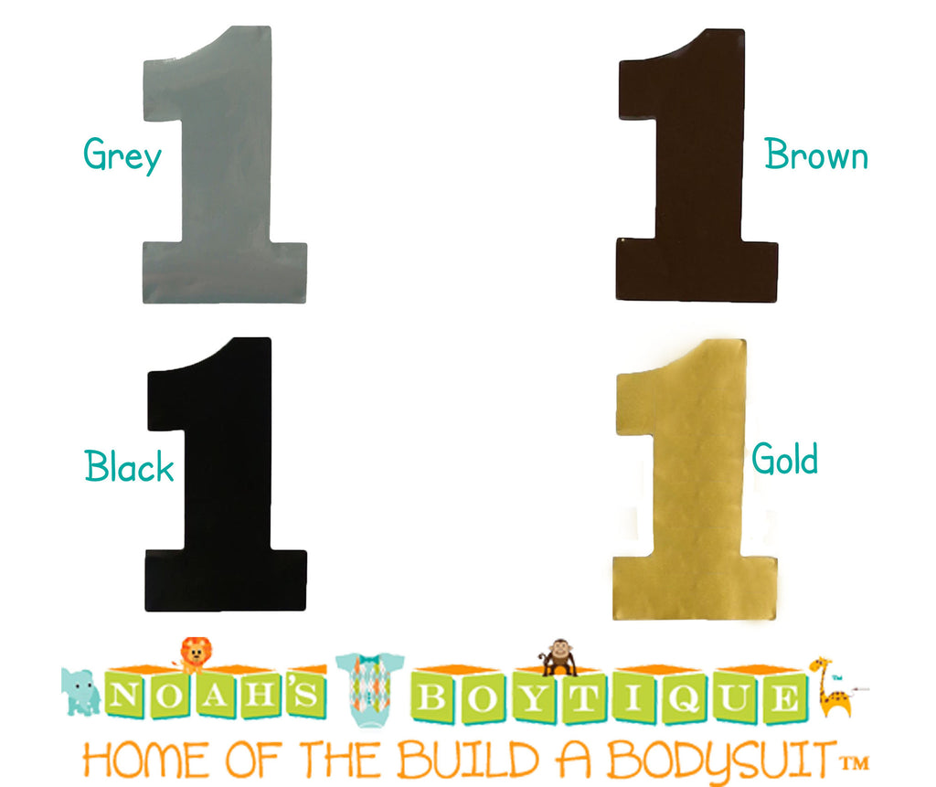 Bodysuit Sticker - Number One Sticker - Blue - Navy - Number 1 - Shirt Sticker - Solids - Black - Grey - Gold - Brown - Noah's Boytique