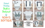 Navy Blue Noah's Boytique Bodysuit Suspenders - Snap On - Suspender Outfit - Baby Suspenders - Newborn Suspenders - Interchangeable