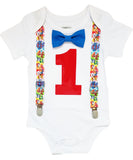 paw patrol first birthday outfit onesie shirt 1st birthday boy