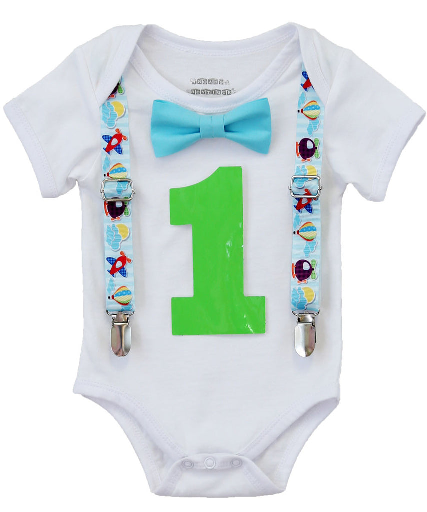 Airplane Birthday Party Outfit - First Birthday - Hot Air Balloon - 1st Birthday - Plane Theme - Airplane - Plane Shirt - Aqua - Lime
