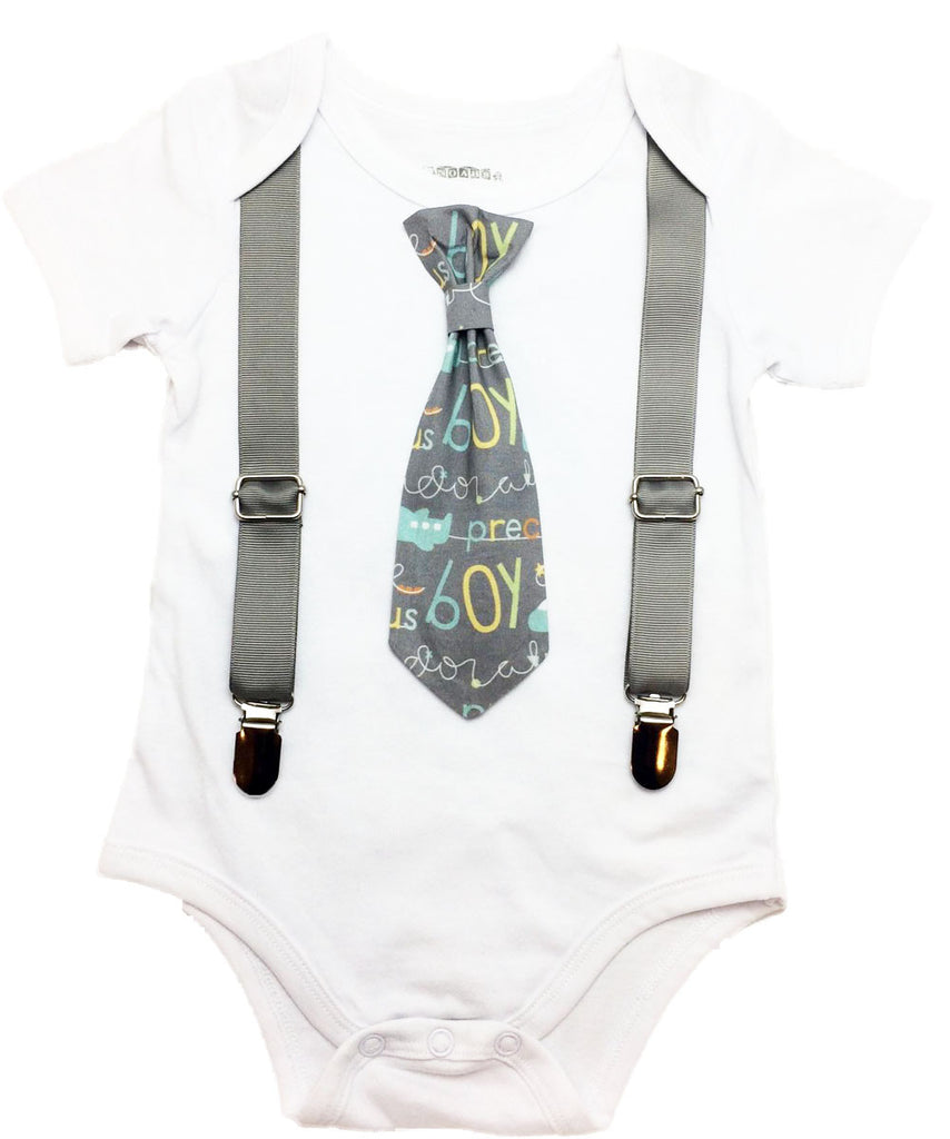 Baby Boy Coming Home Outfit Gray Airplane Precious Boy Tie and Suspenders - Baby Shower Gift for Baby Boy - Newborn Coming Home Outfit Mint Coming Home Onesie Noah's Boytique Tie Onesie
